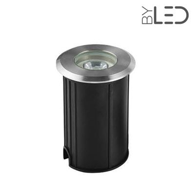 Spot LED encastré de sol rond inox 1W - 12V - QINOX 62 mm