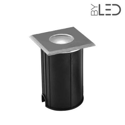Spot LED encastré de sol carré inox 1W - 230V - QINOX 62 mm