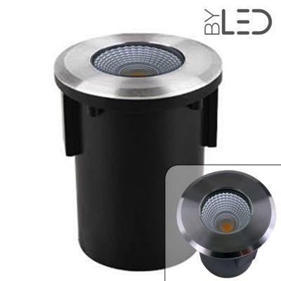 Spot LED encastré de sol rond inox 3W - COB - 12V - QINOX 92 mm
