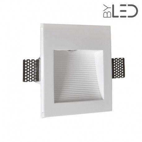 Spot LED encastré mural carré strié - 1W STAFF