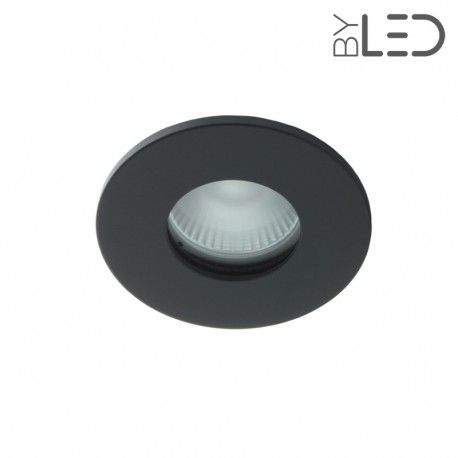 spot led encastrable collerette ronde plate noir bbc. Black Bedroom Furniture Sets. Home Design Ideas