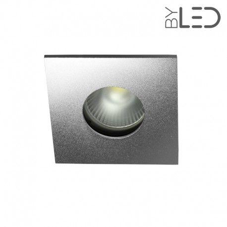 Spot encastrable collerette carrée flat SPLIT - Alu mat