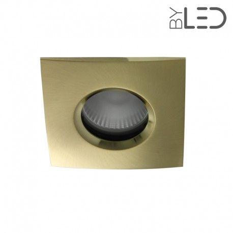 Spot encastrable collerette carrée chanfrein SPLIT - Or satiné