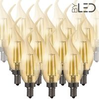 Lot de 20 ampoules LED à filament Flamme - Ambrée - E14 – 4W - Dimmable - C35