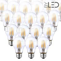 Lot de 20 ampoules LED à filament - Blanc Chaud – 6W - E27 - Dimmable - A60