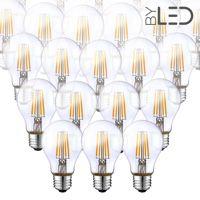 Lot de 20 ampoules LED à filament - Blanc Chaud – 6W - E27 - Dimmable - A60