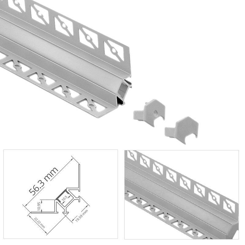 Profilé Dangle Led Aluminium Encastrable 90 à Carreler Craft E13 Diffuseur Givré