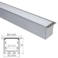 Profilé aluminium encastrable large pour 2 ruban LED - CRAFT - E06