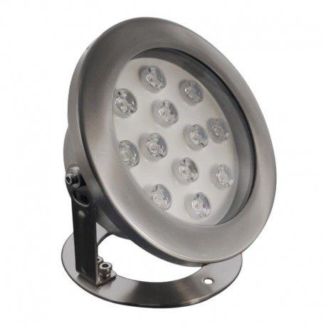 Spot LED encastré de sol immergeable inox 12W - 12V - Hydro 190mm