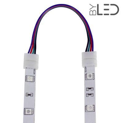 Connecteur ruban LED RGB 10mm Click + câble 15 cm + click